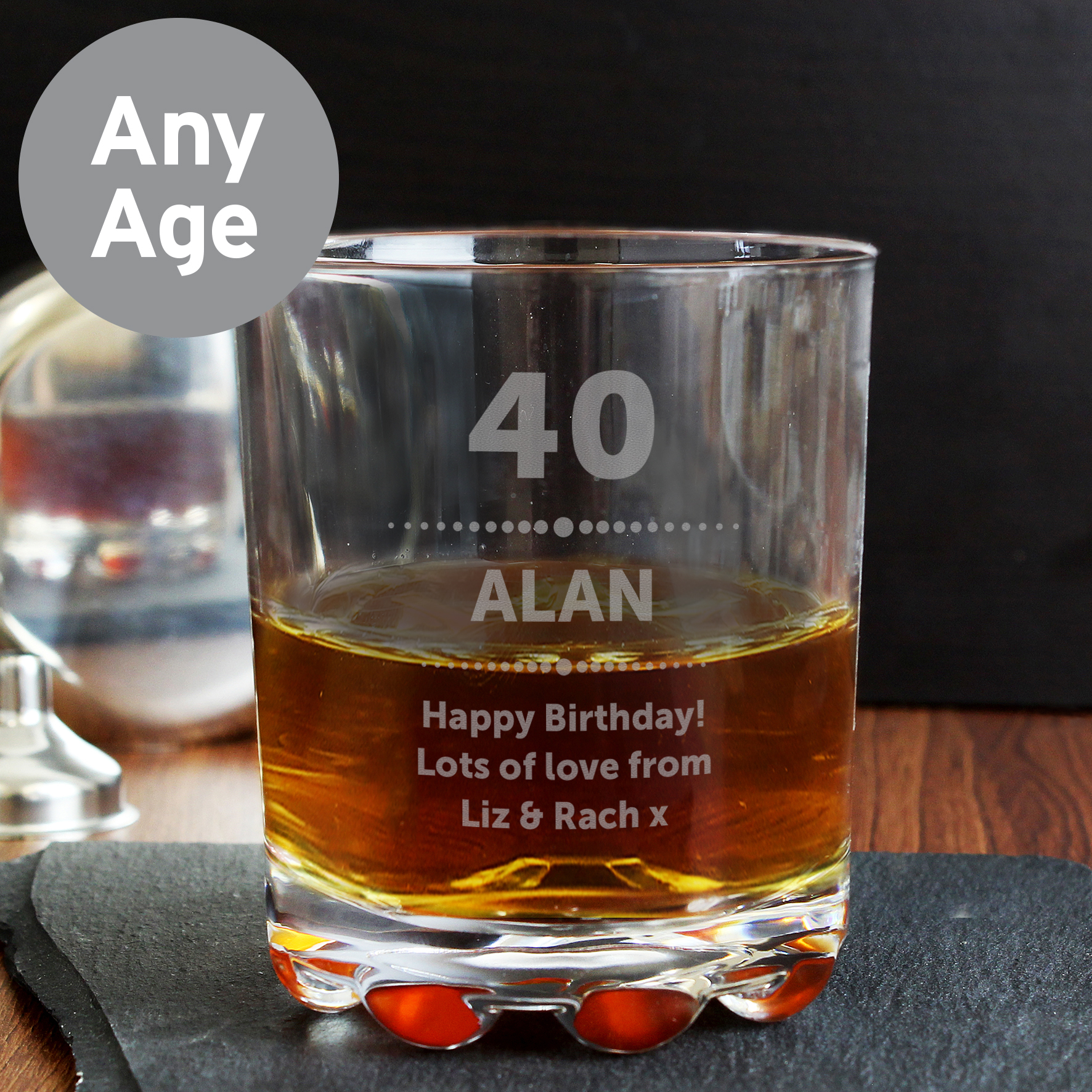 Engraved Birthday Star Whisky Glass