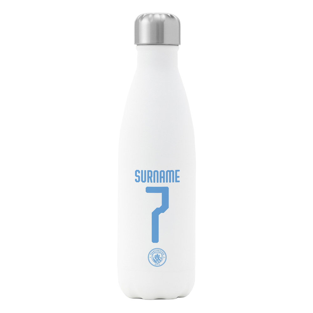 Manchester City FC Back of Shirt Insulated Water Bottle - White