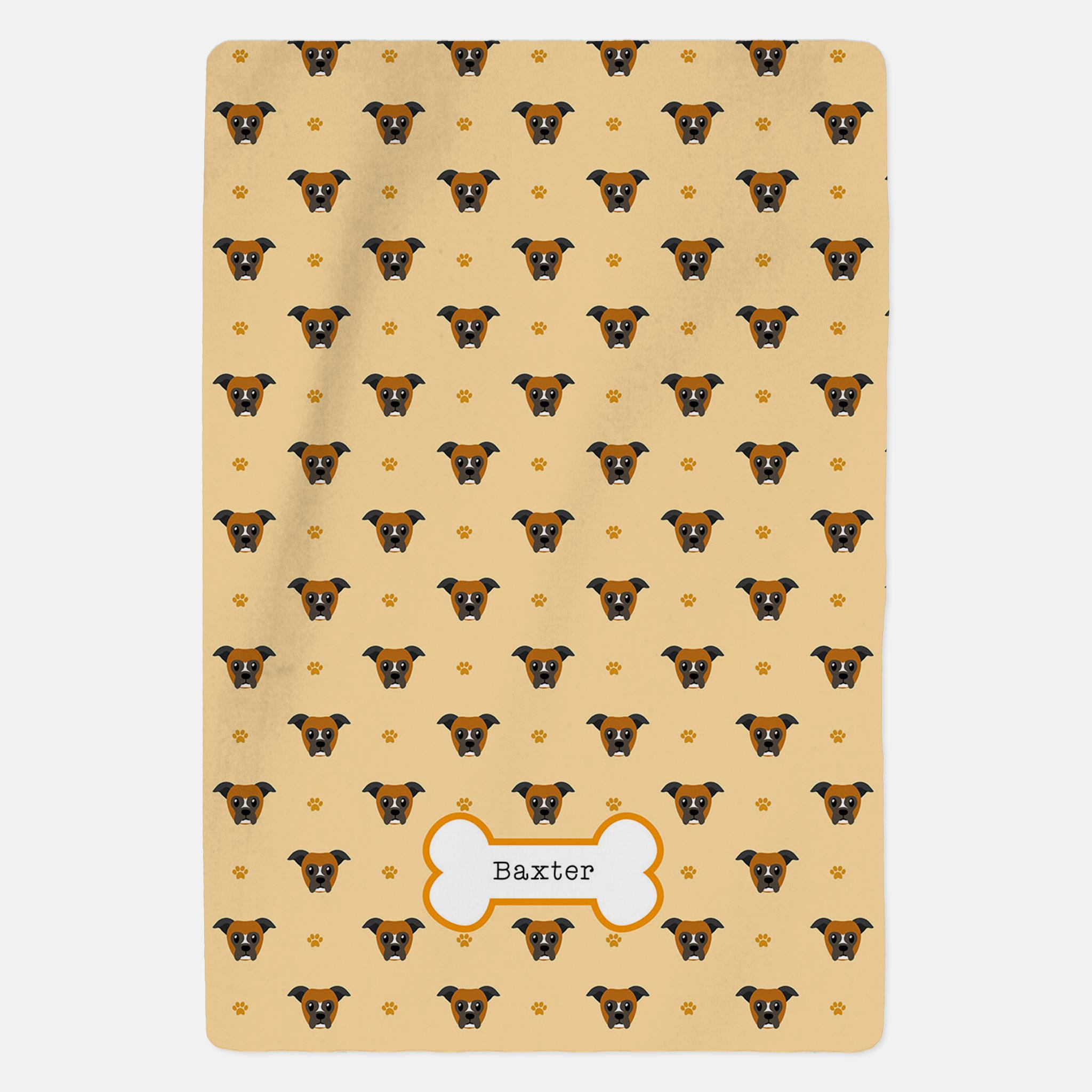 Personalised Boxer Dog Blanket - Pattern