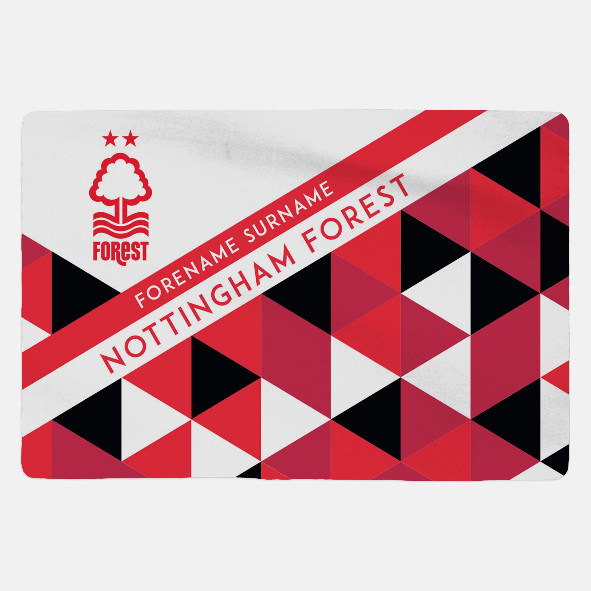 Nottingham Forest FC Geometric Sherpa Fleece Blanket