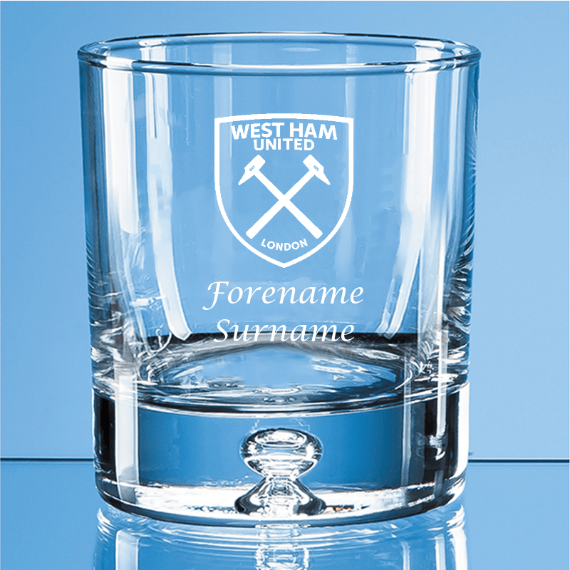West Ham United FC Personalised Crest Bubble Base Whisky Tumbler