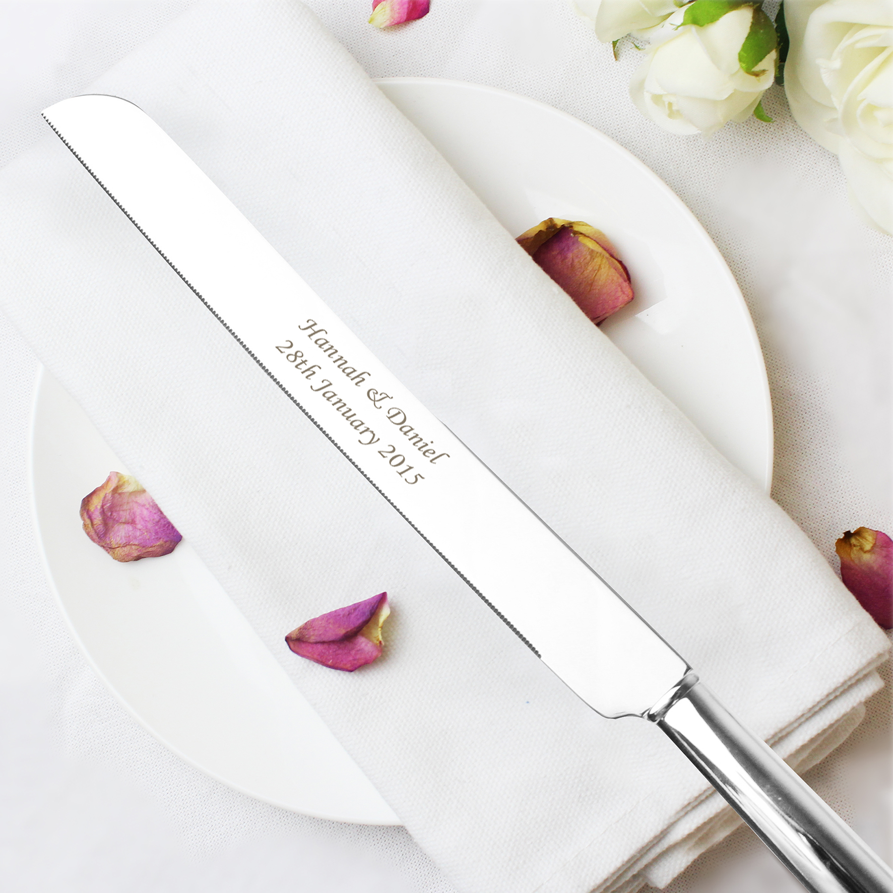 Engraved Heart Cake Knife