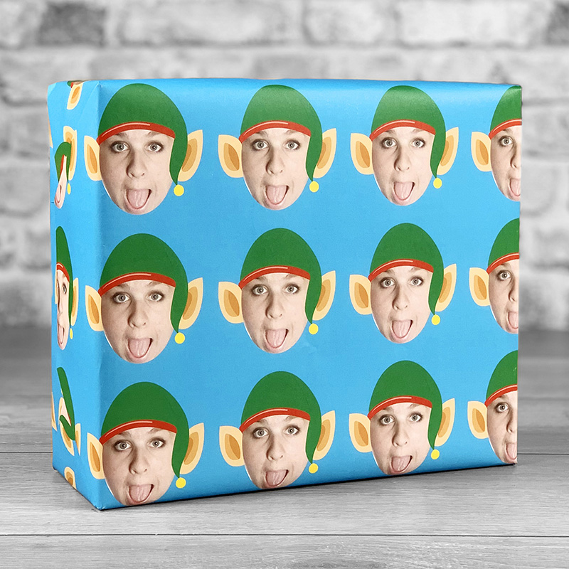 Elf Hat Blue Gift Wrap with Face Upload