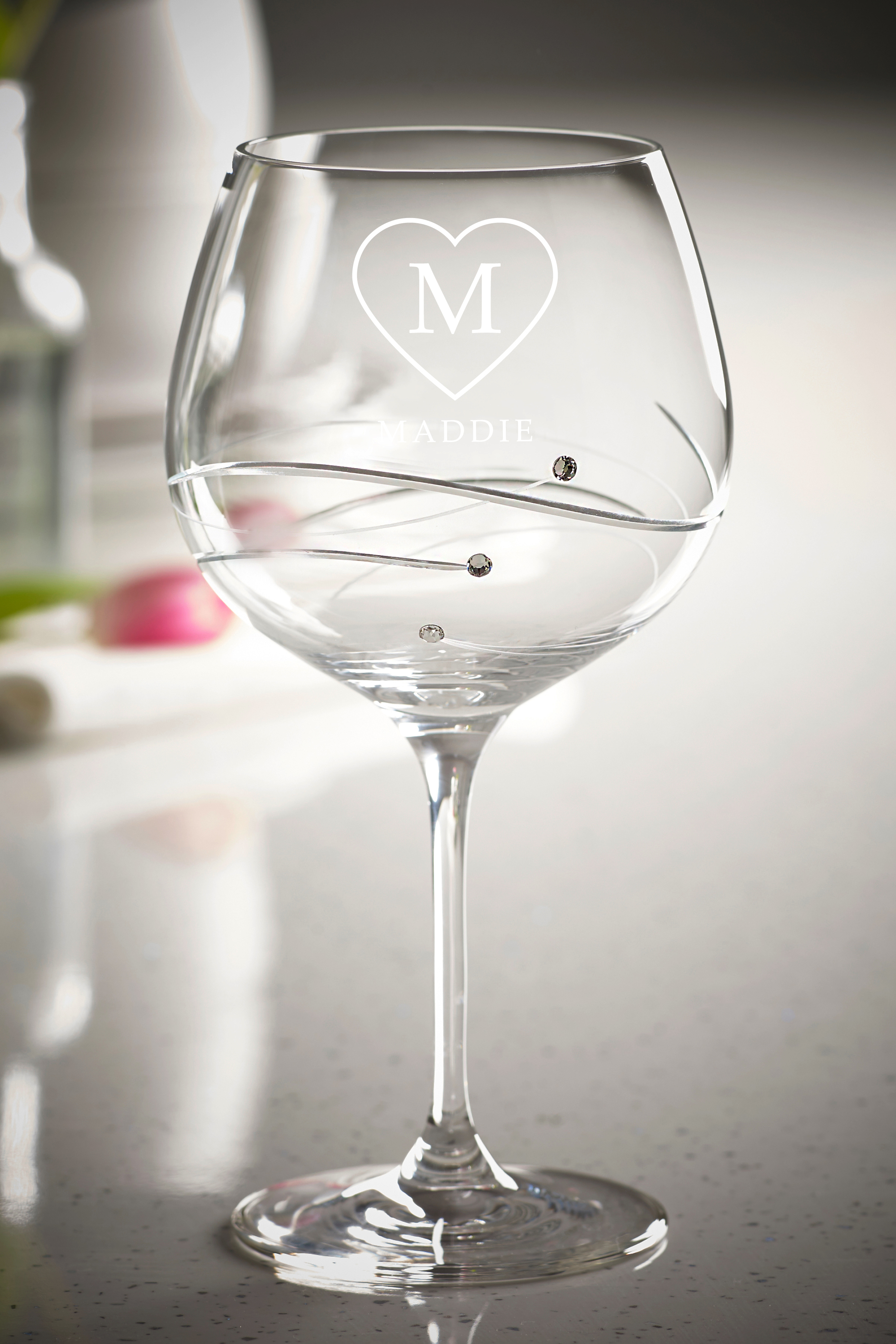 Diamante Gin Glass Initial and Name