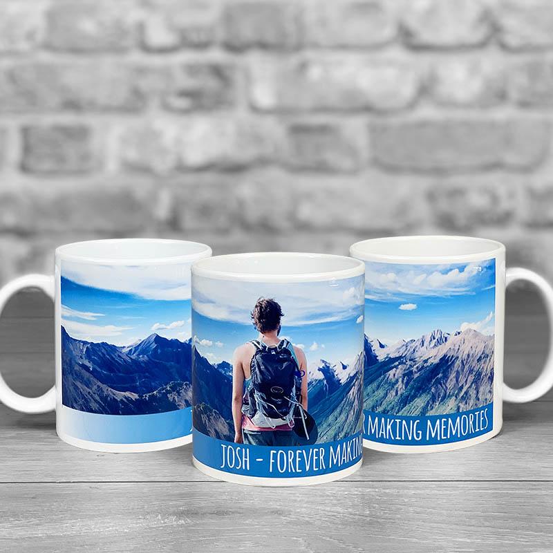 Photo Upload With Message - Blue Strapline - Mug