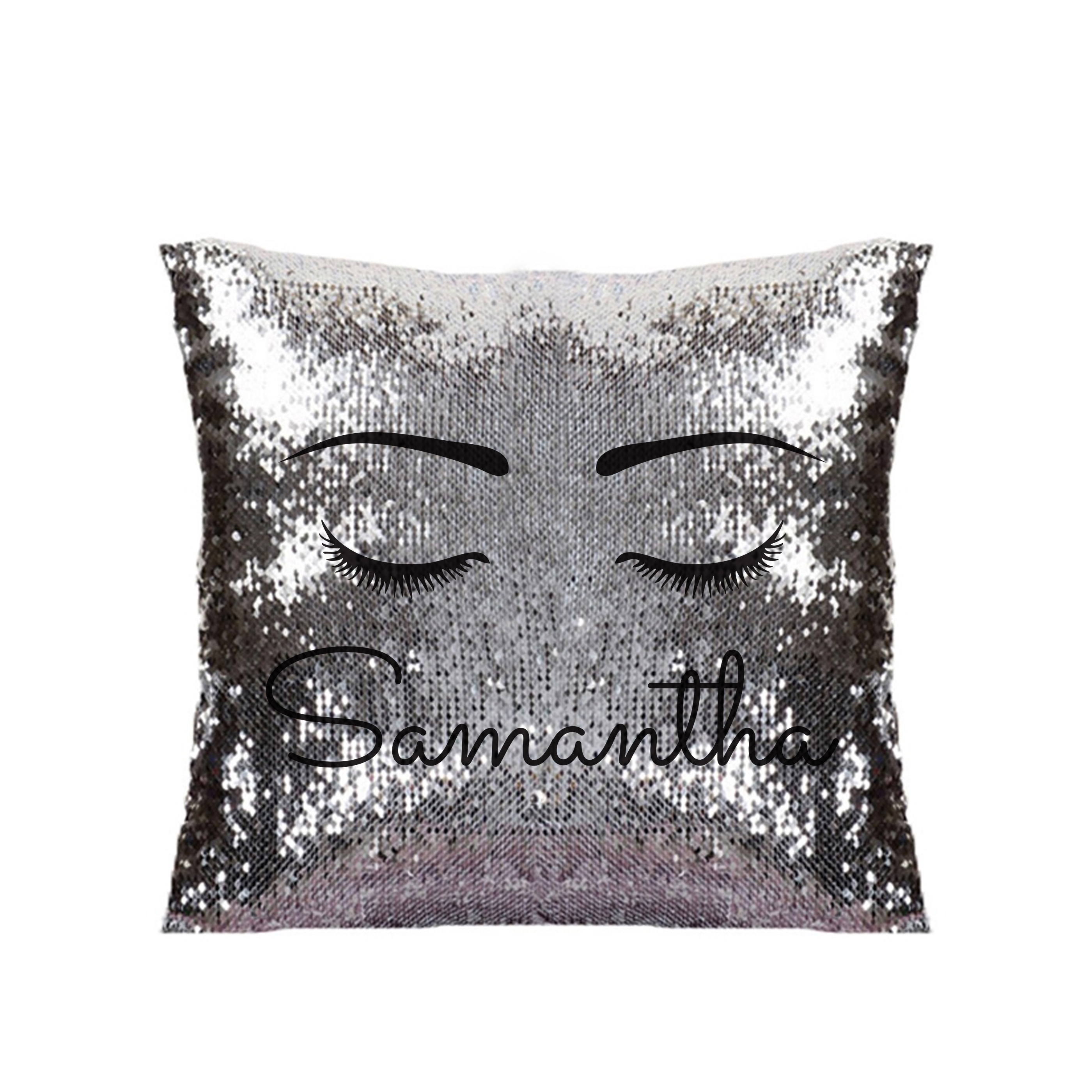 Eyelash Silver & Black Sequin Cushion Cover