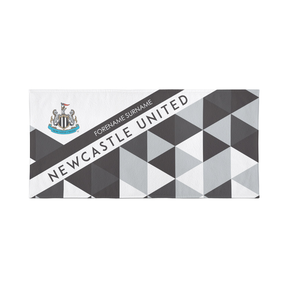 Newcastle United  Personalised Towel - Geometric Design - 70 x 140