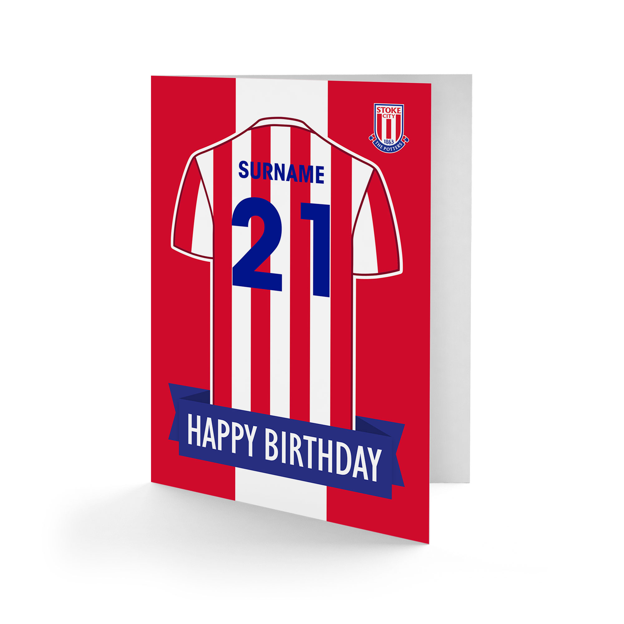 Stoke City FC Shirt Birthday Card