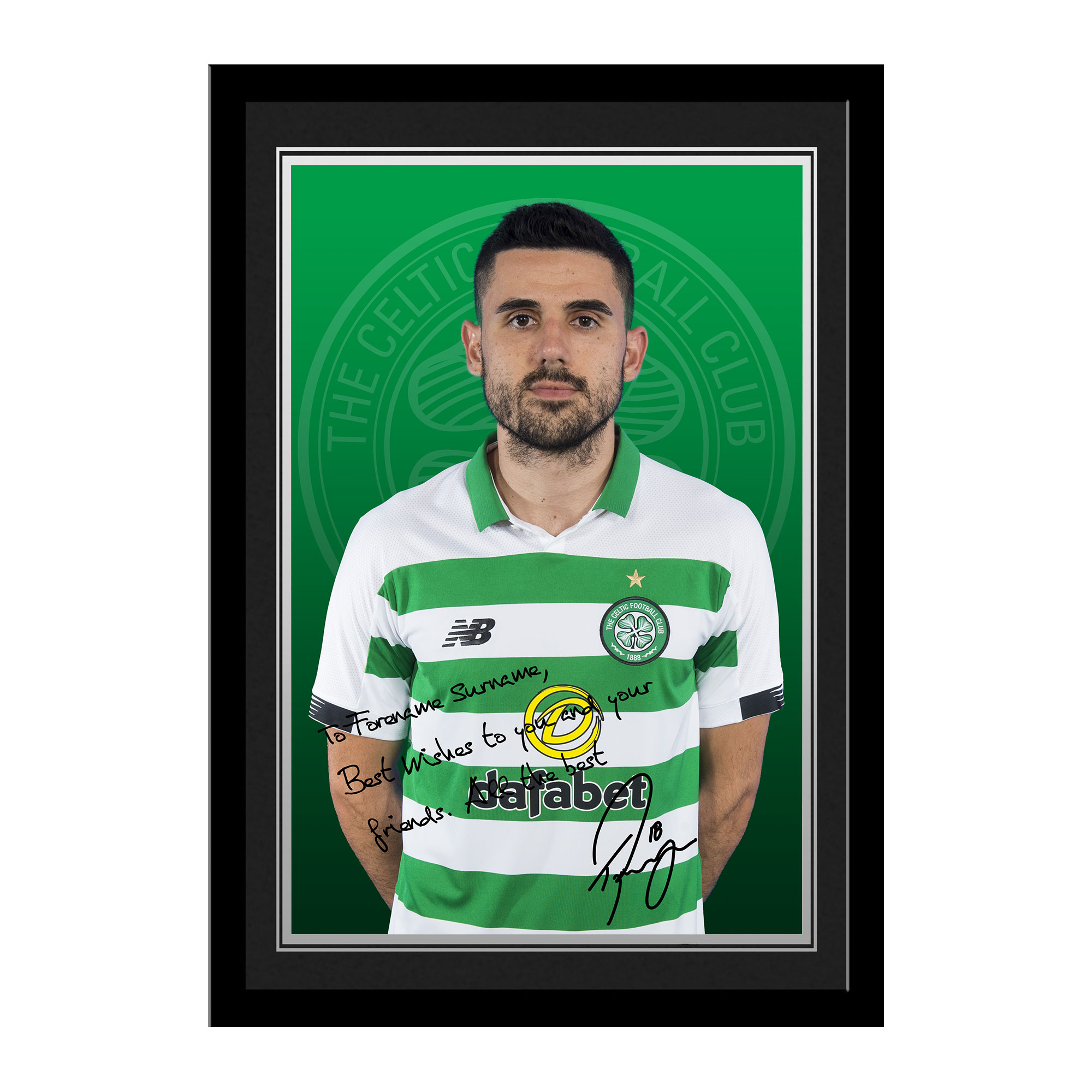 Celtic FC Rogic Autograph Photo Framed