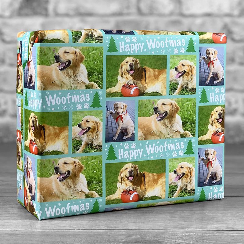 Happy Woofmas Teal Gift Wrap with Photo Upload