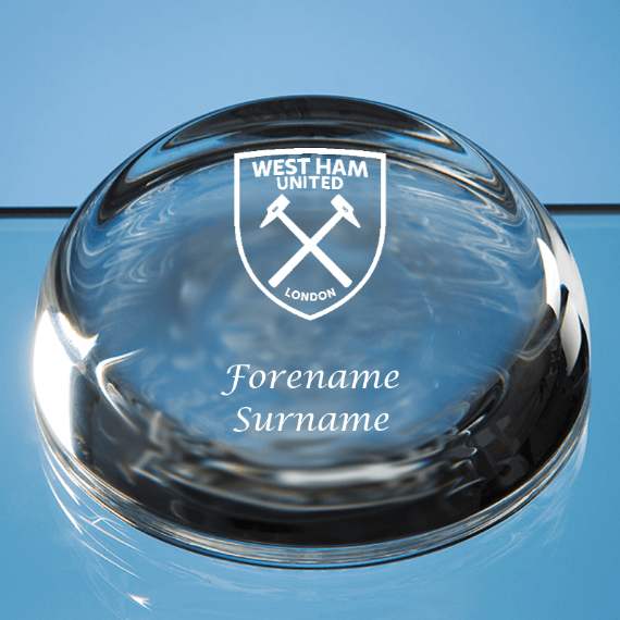 West Ham United FC Personalised Crest Optical Dome Paperweight