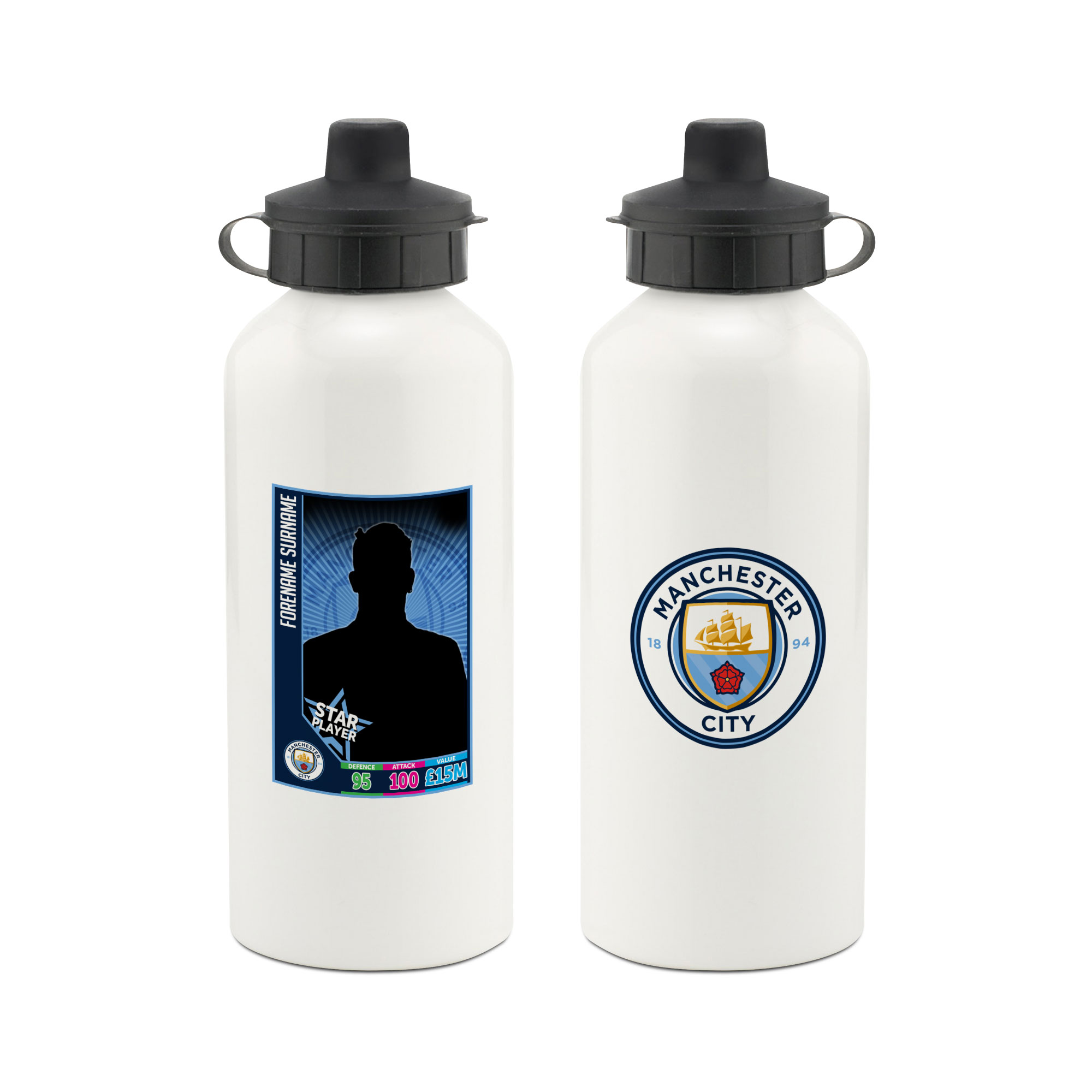 Manchester City FC Trading Card Aluminium Water Bottle