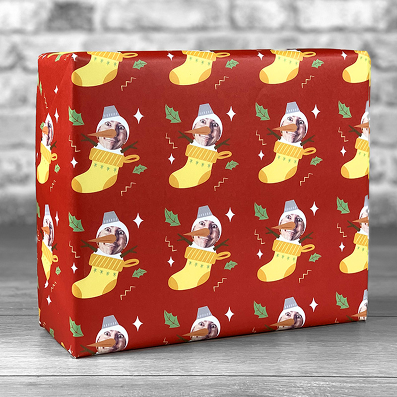 Snowman Stocking Gift Wrap with Face Upload