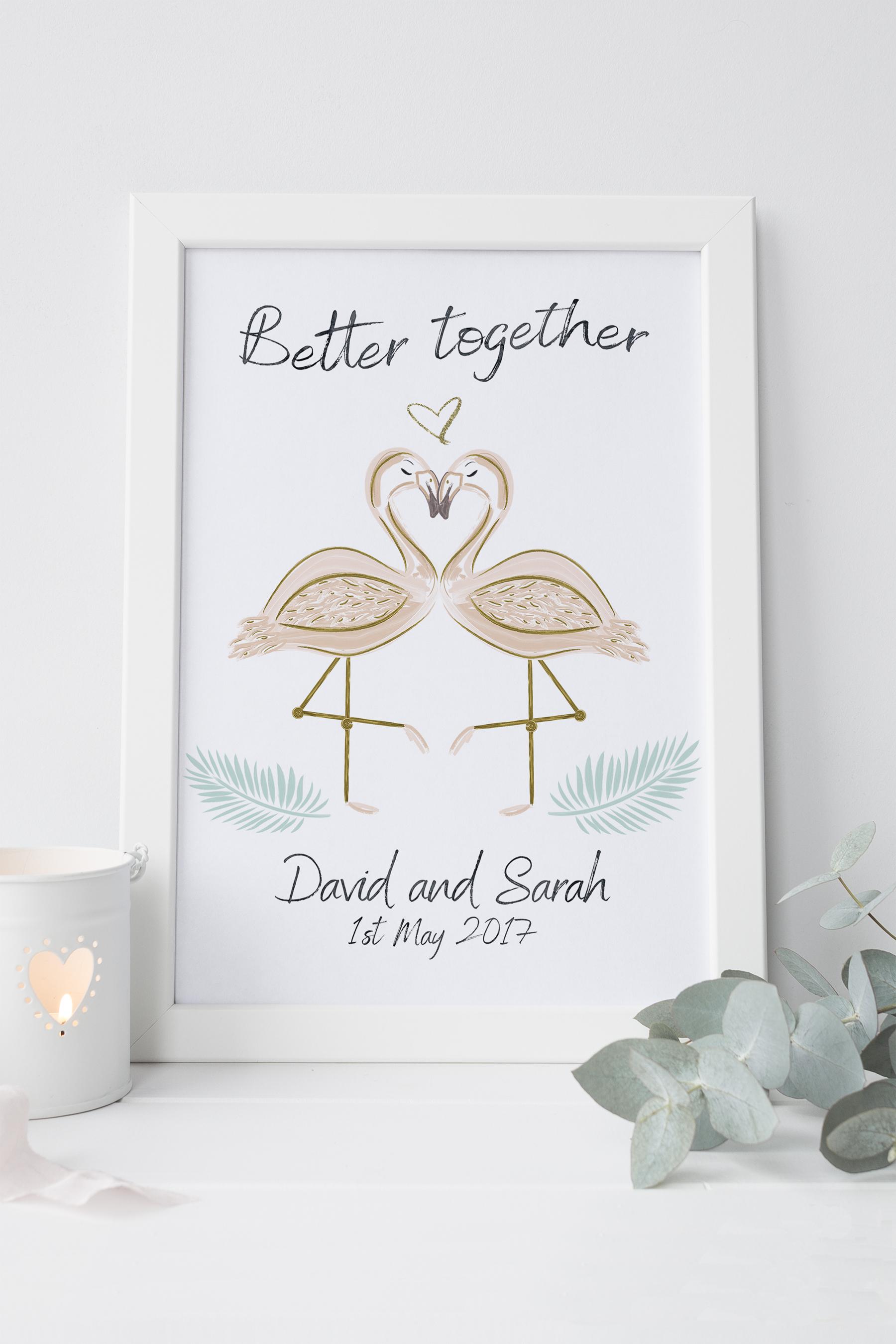 Flamingo Framed Wedding Print
