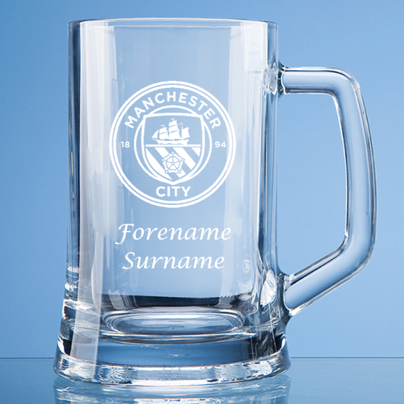 Manchester City FC Personalised Crest Large Straight Sided Tankard