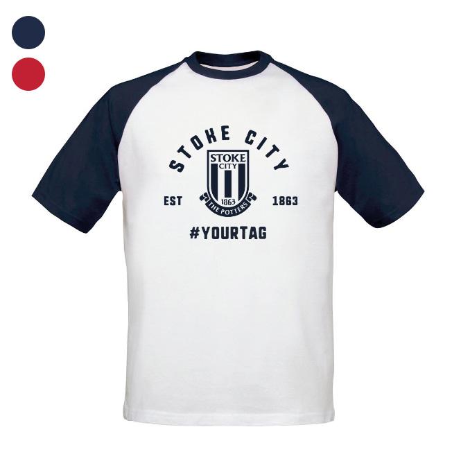 Stoke City FC Vintage Hashtag Baseball T-Shirt