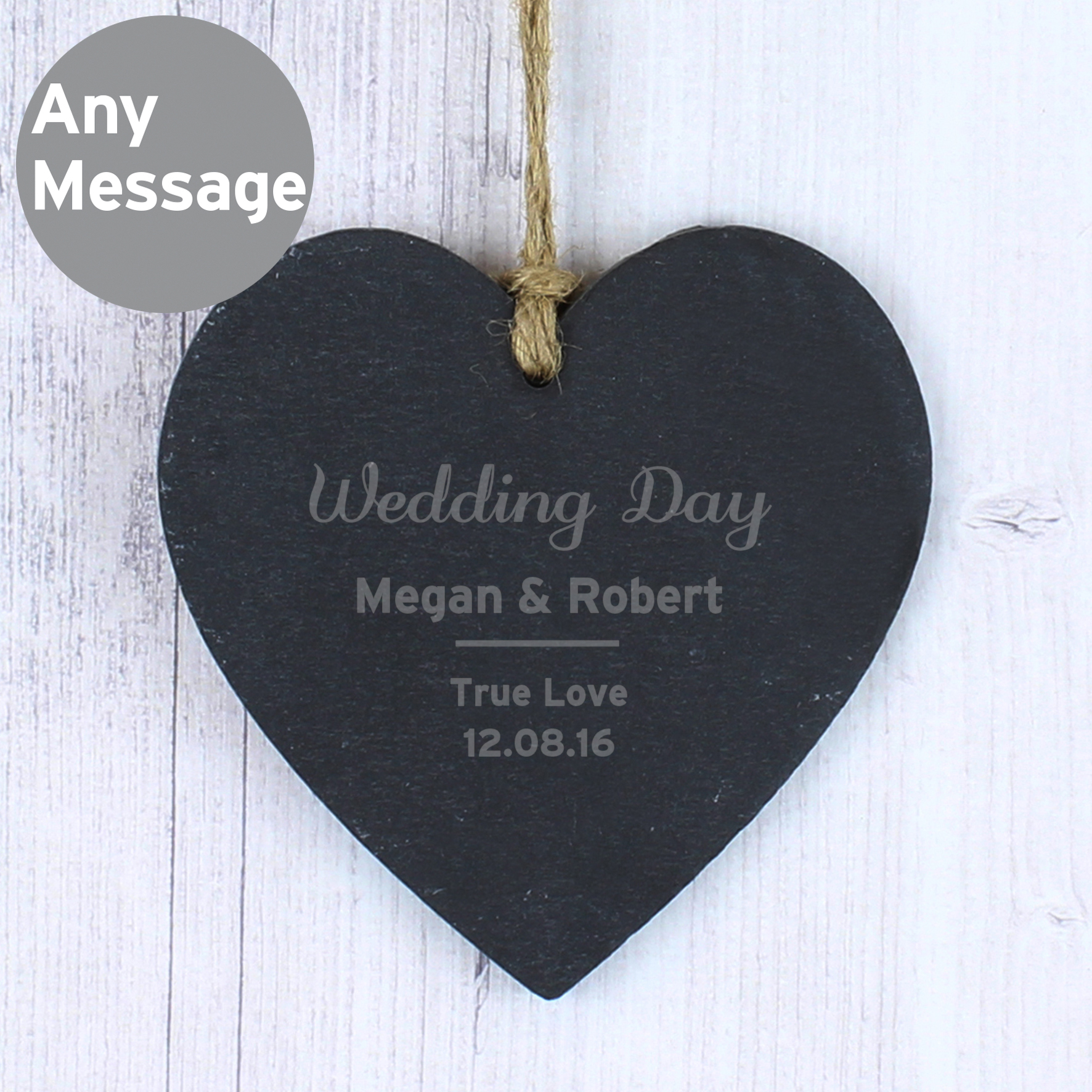 Engraved Classic Slate Heart Decoration
