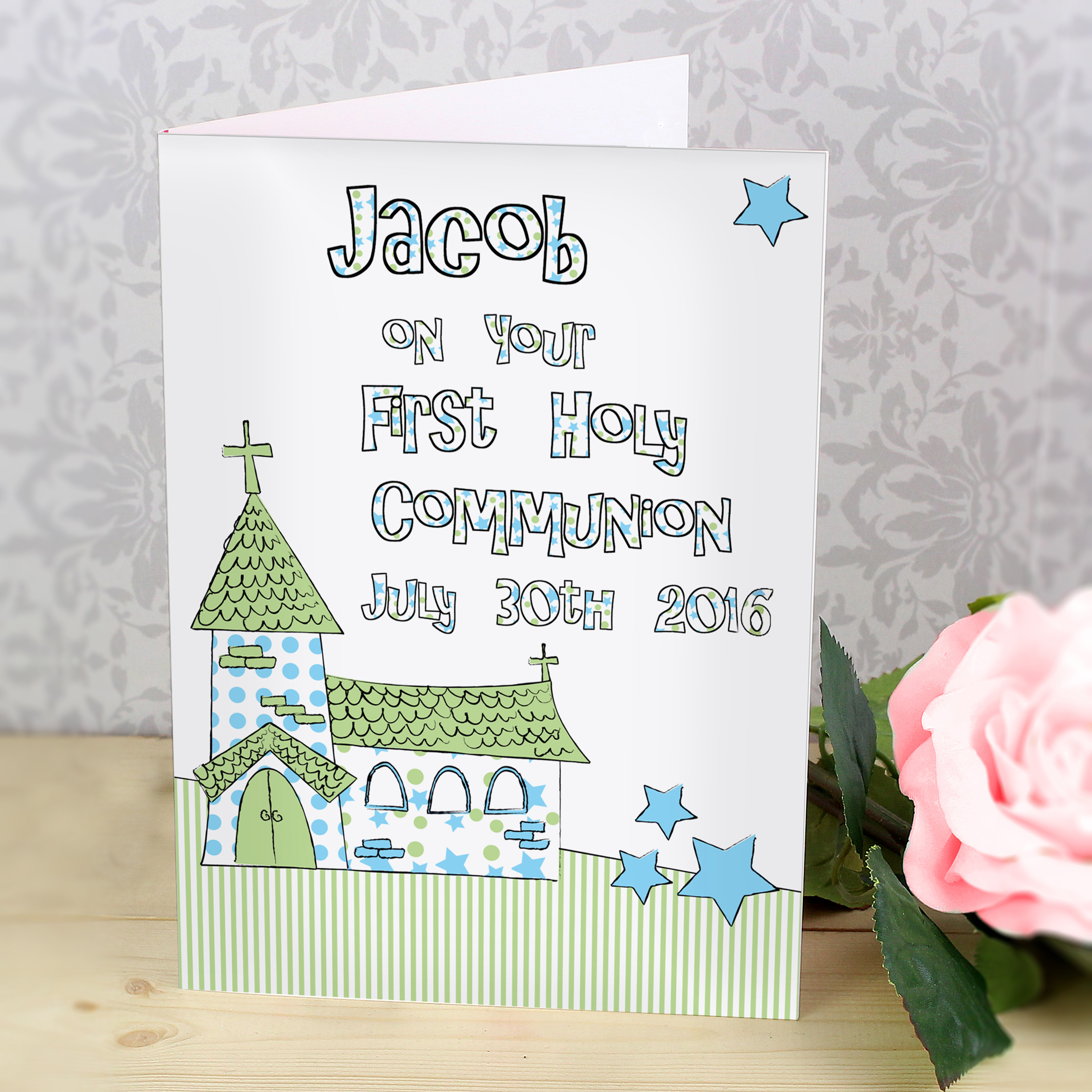 Personalised 1st Holy Communion Blue Church