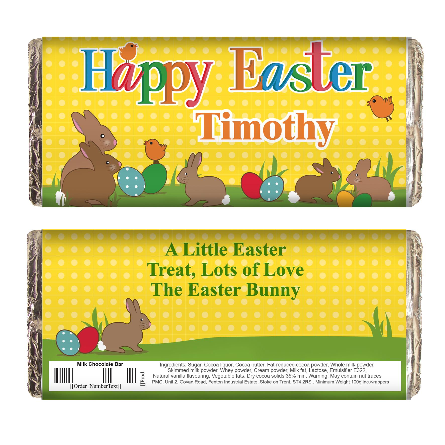 Personalised Easter Bunny Milk Chocolate Bar