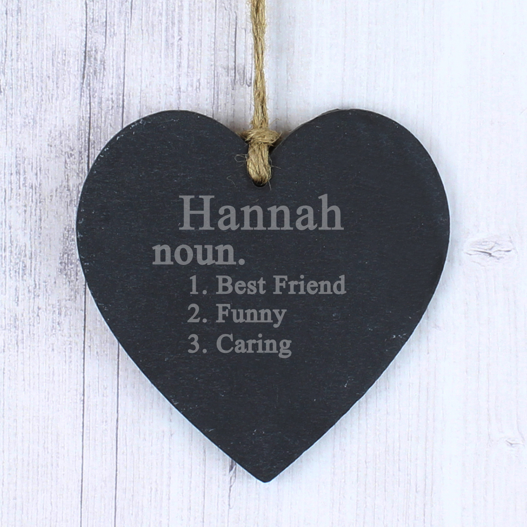 Engraved Word Definition Slate Heart Decoration