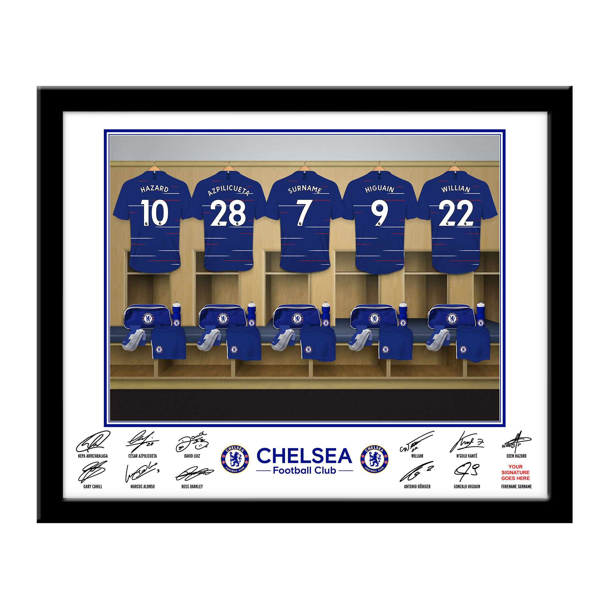 Chelsea FC Dressing Room Framed Print
