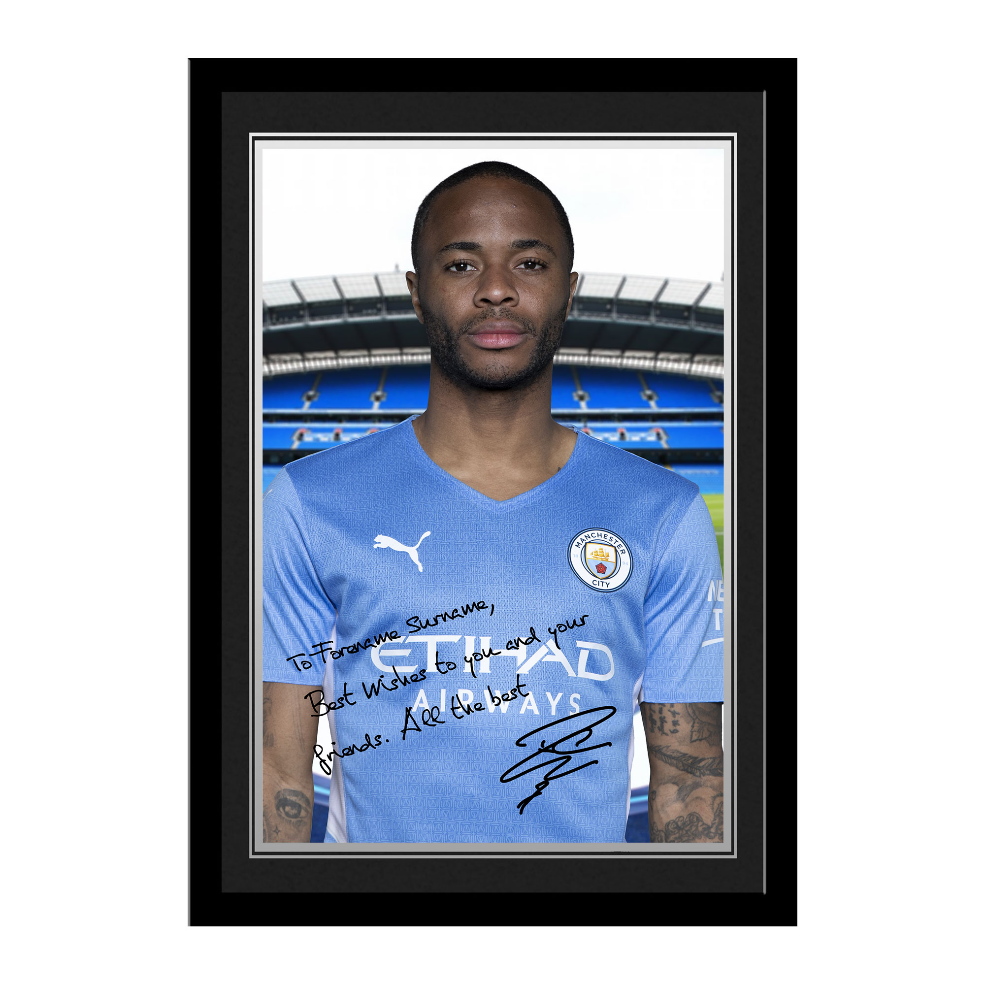 Manchester City FC Sterling Autograph Photo Framed