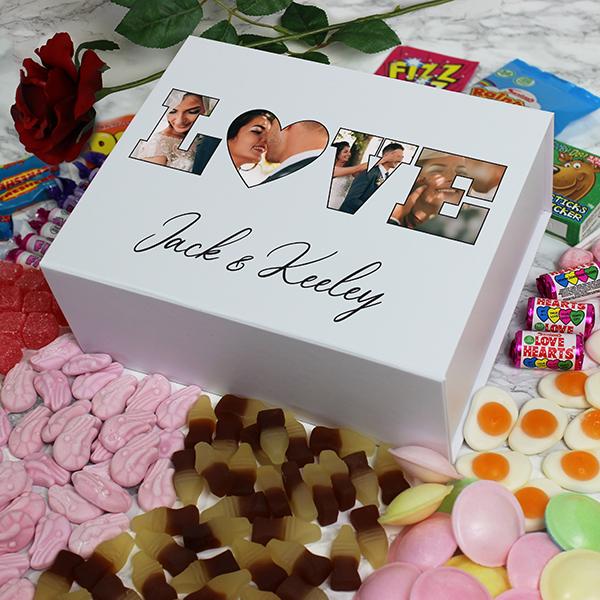 'LOVE' Photo Gift - Deluxe White Retro Sweet Box
