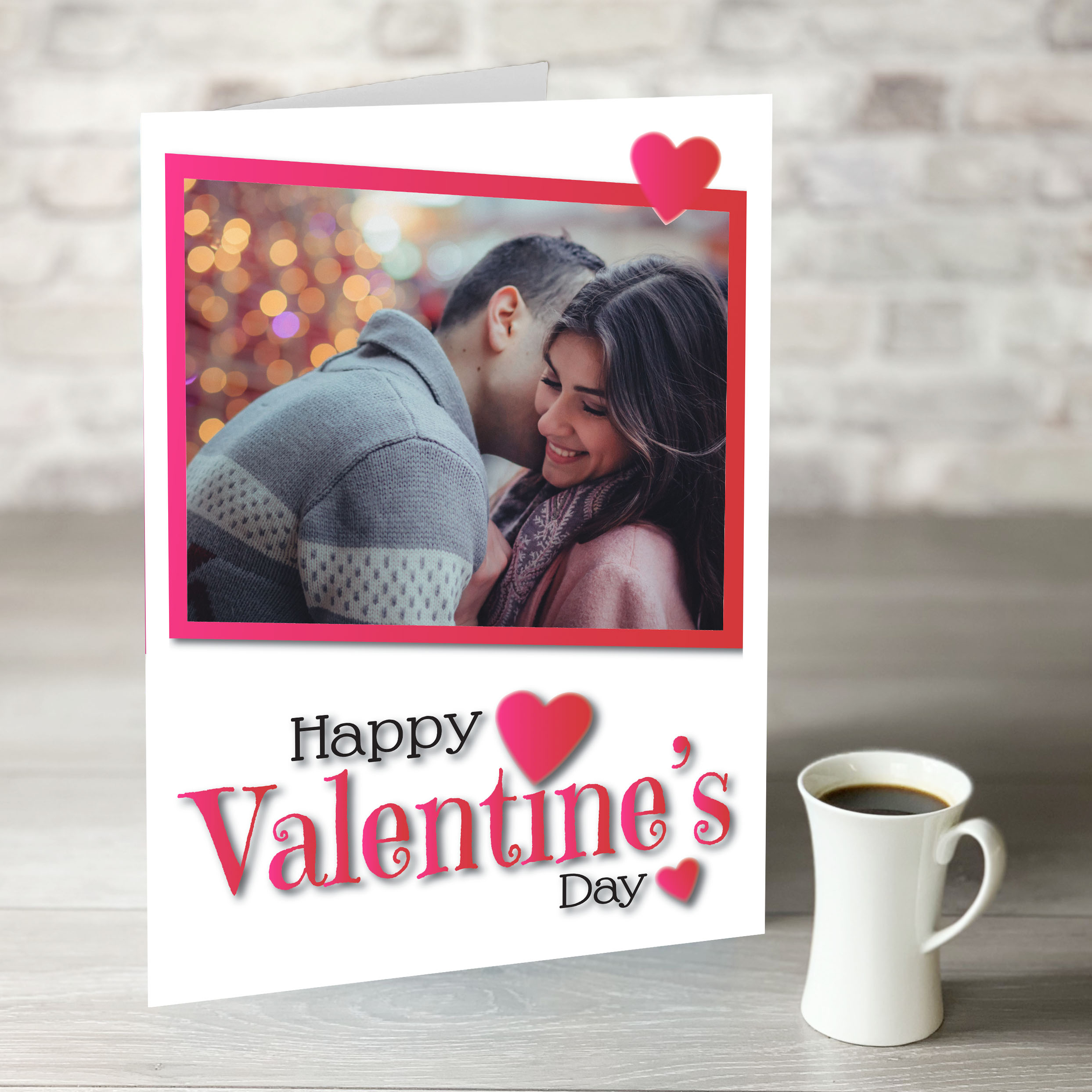 XL Happy Valentine's Day Card with Rectangle Photo Upload