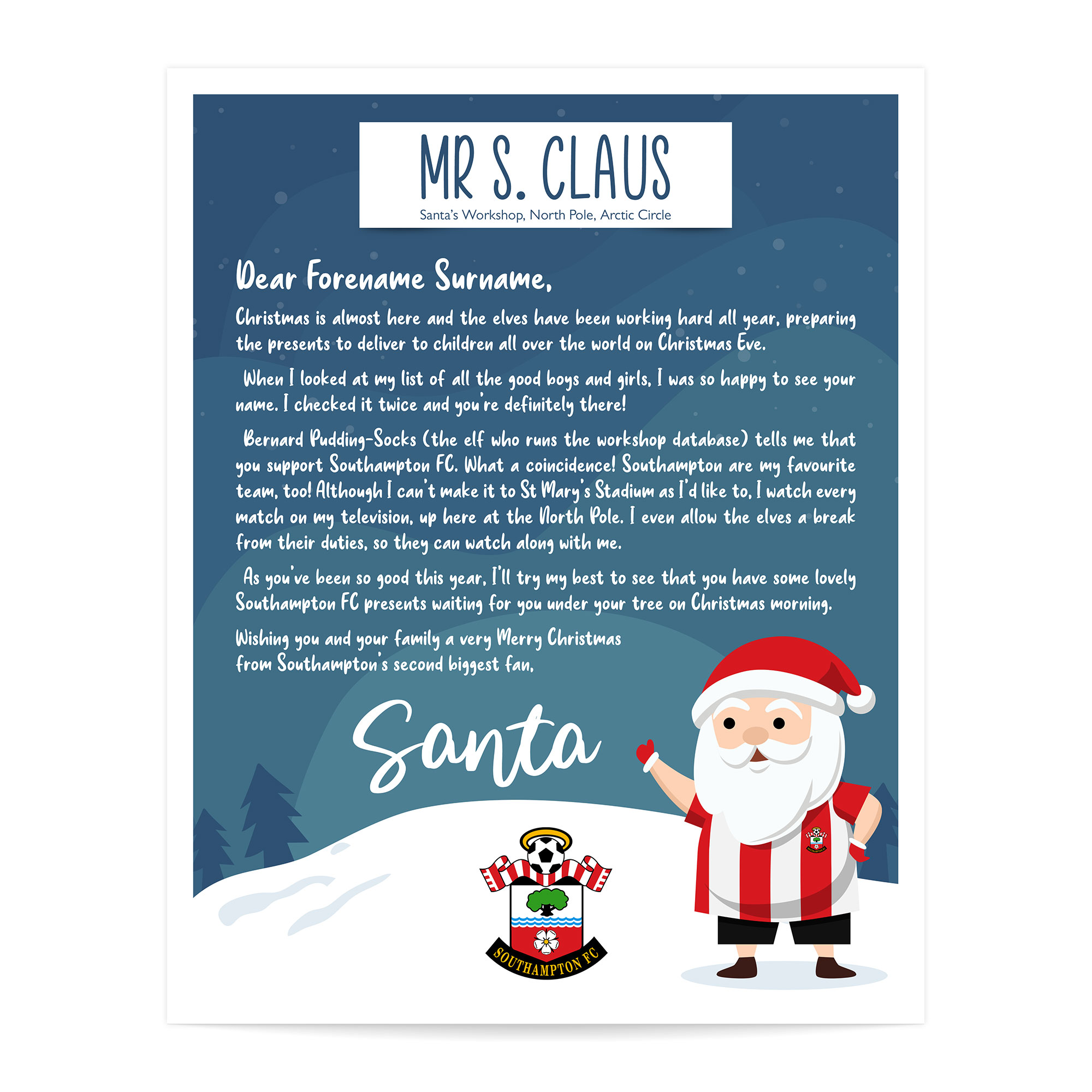 Southampton FC Personalised Letter from Santa