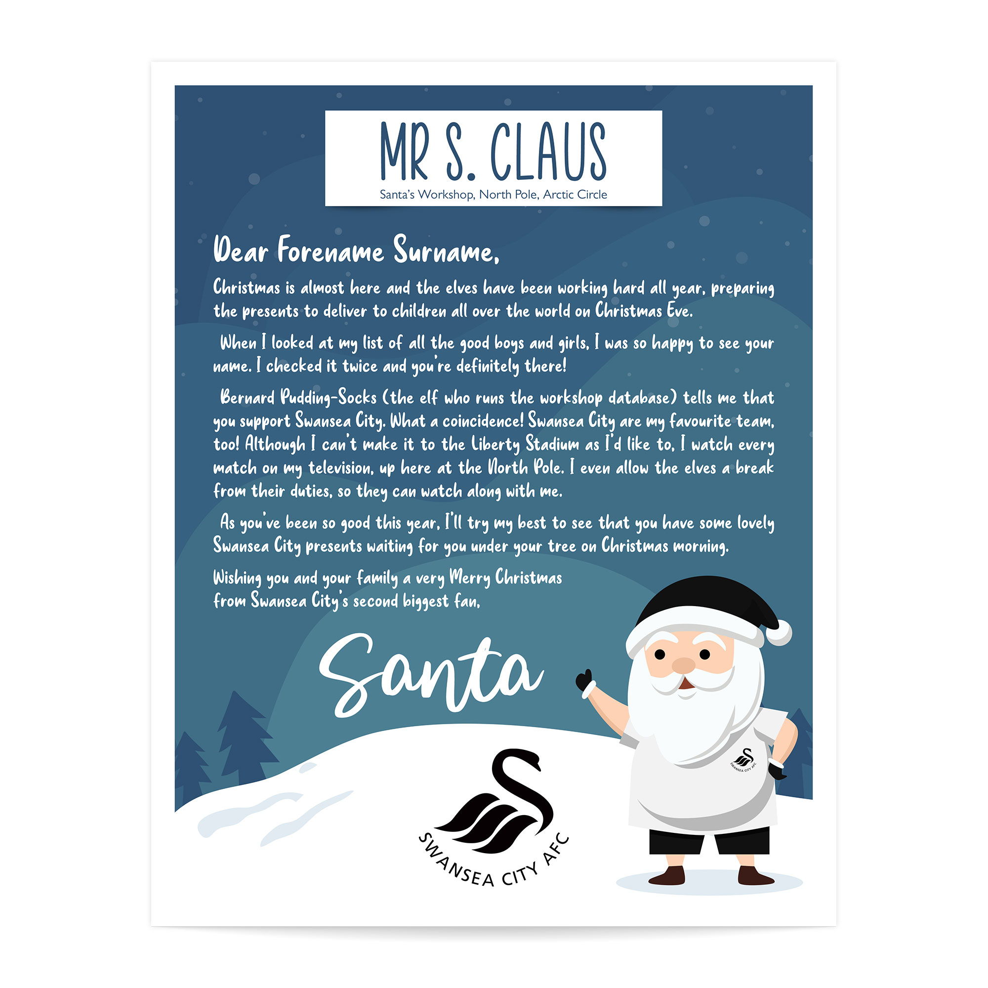 Swansea City AFC Personalised Letter from Santa