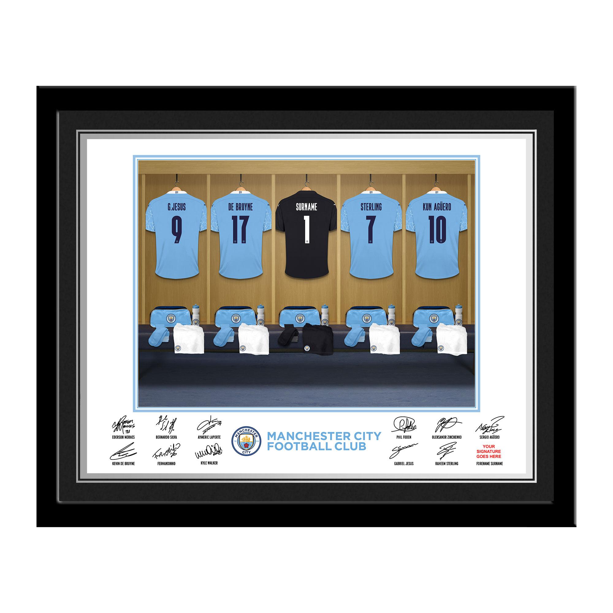 MCFC Goalkeeper Dressing Room Photo Framed