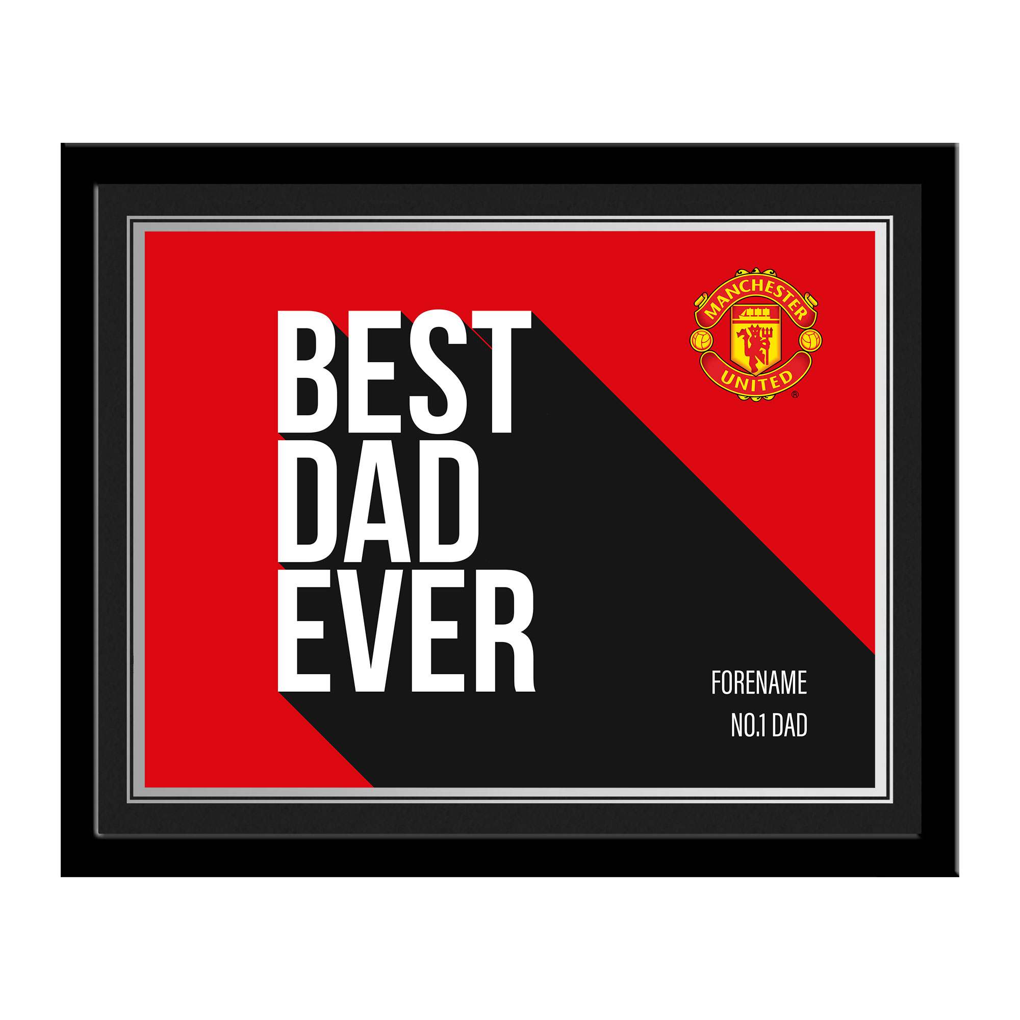 Manchester United FC Best Dad Ever 10 x 8 Photo Framed