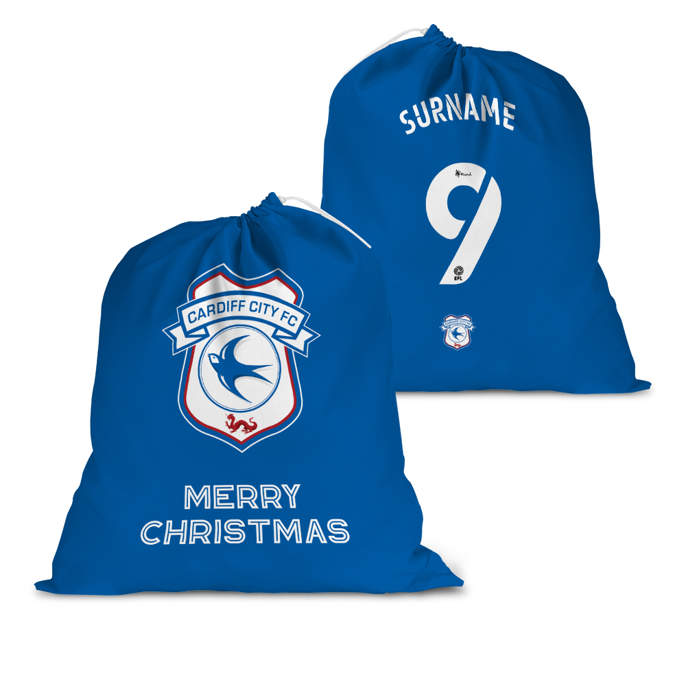 Cardiff City FC Back of Shirt Santa Sack
