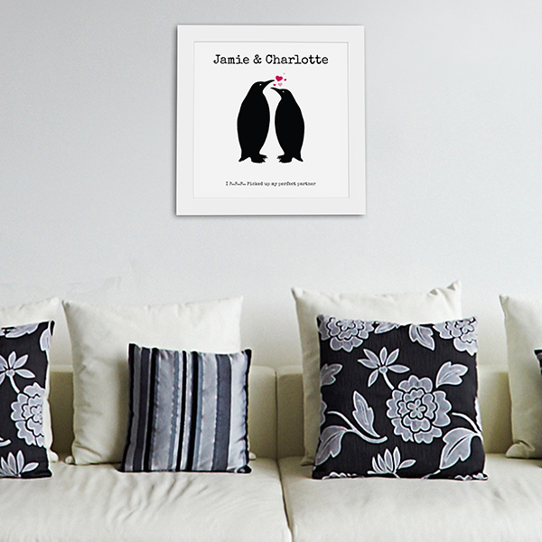 Perfect Partner' poster black frame in living room lifestyle