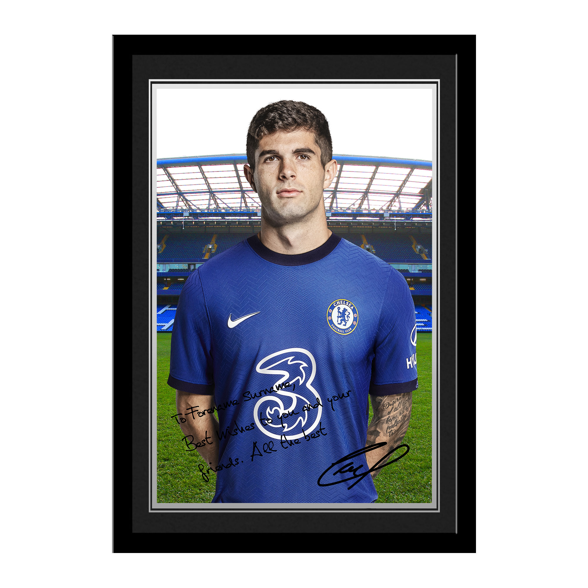 Chelsea FC Pulisic Autograph Photo Framed