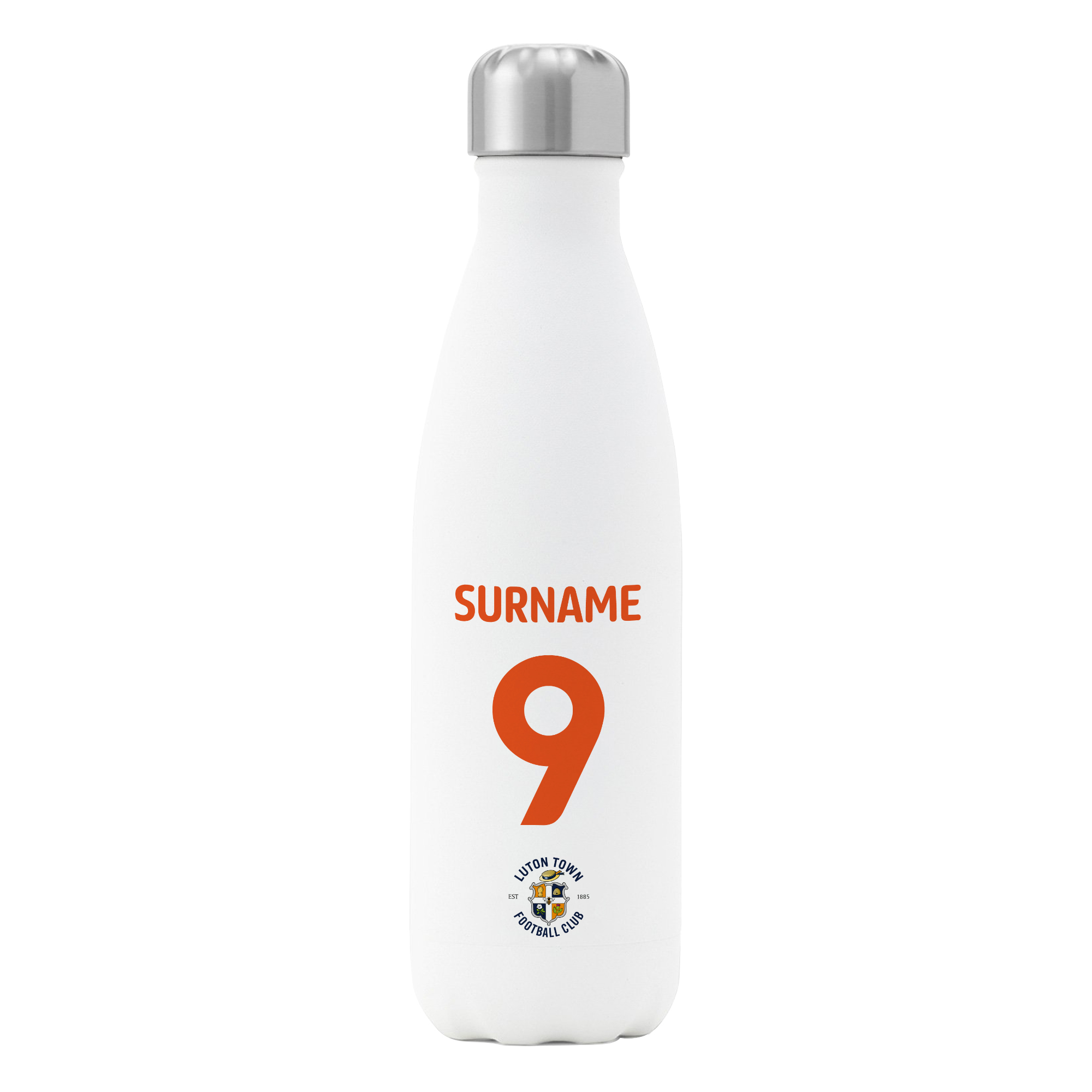 Luton Town FC Back of Shirt Insulated Water Bottle - White