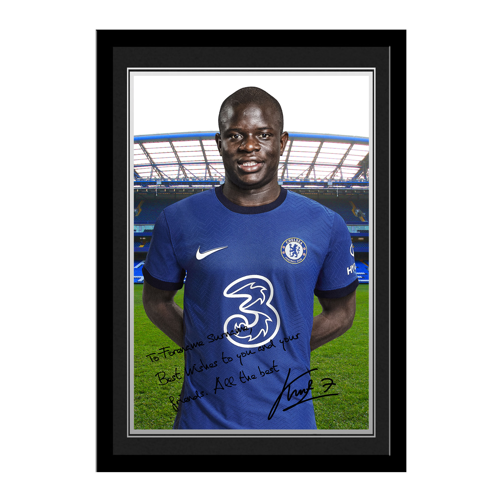 Chelsea FC Kante Autograph Photo Framed