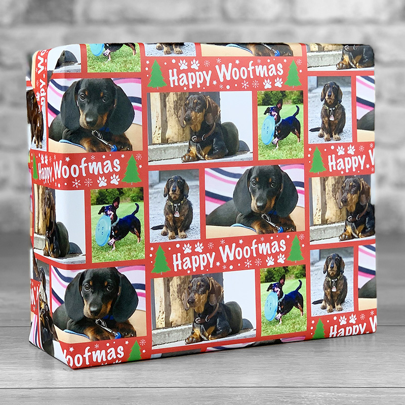 Happy Woofmas Red Gift Wrap with Photo Upload