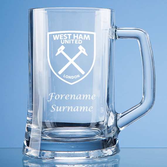 West Ham United FC Personalised Crest Large Straight Sided Tankard