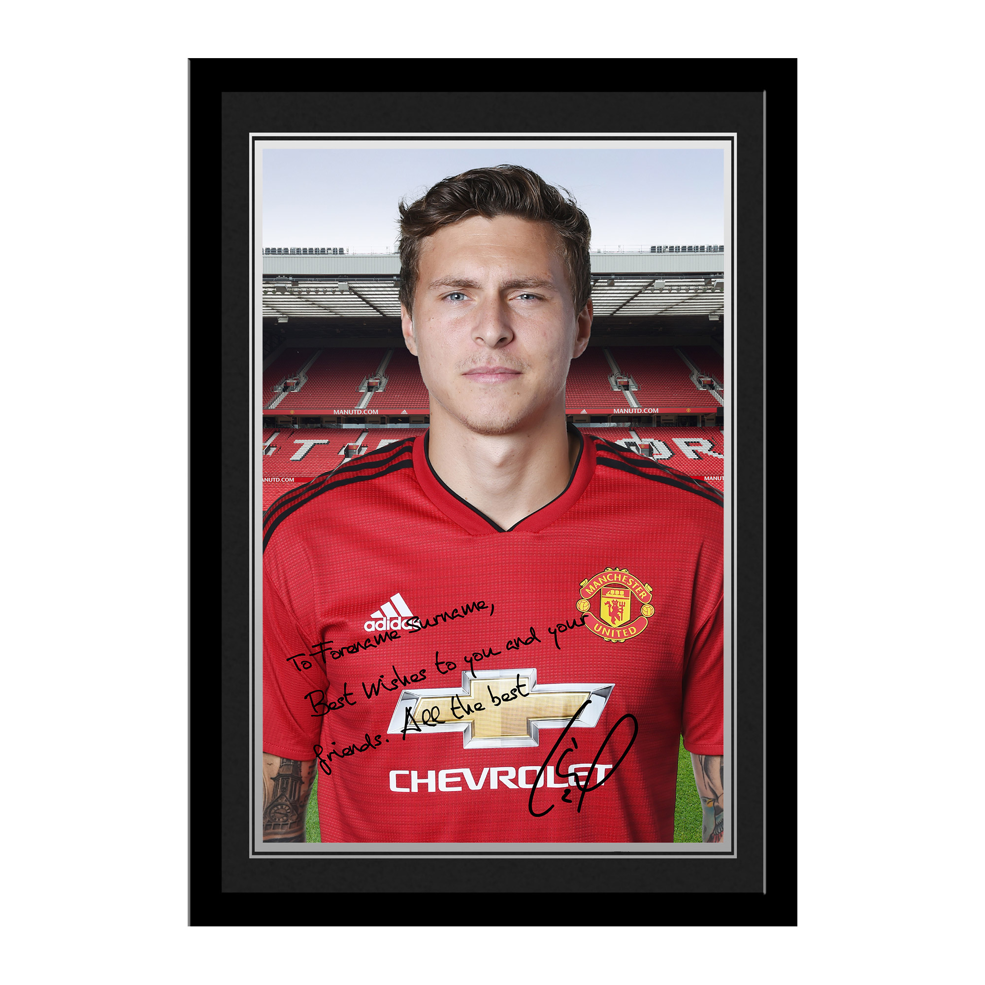 Manchester United FC Lindelof Autograph Photo Framed