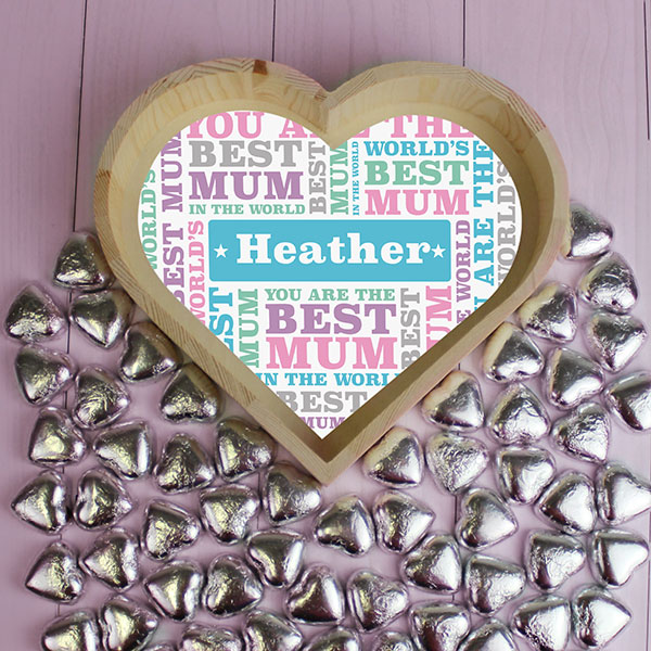 Best Mum - Chocolate Heart Tray - Large