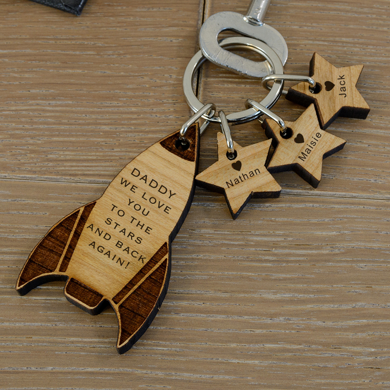 Love You to the Stars Rocket Key Ring