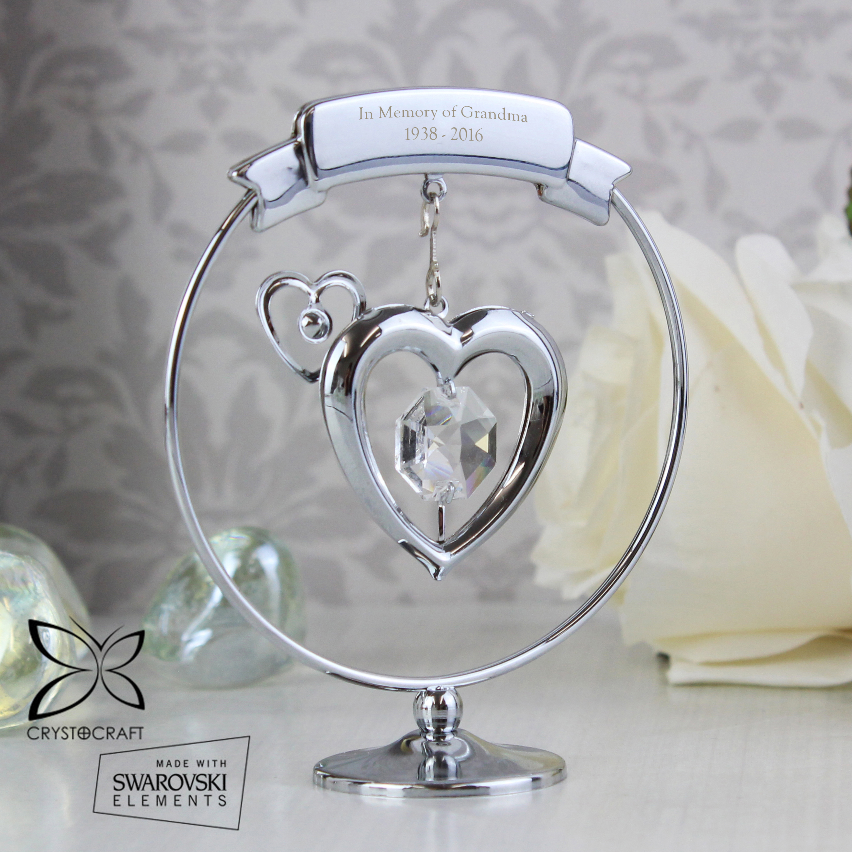 Engraved Crystocraft Heart Ornament