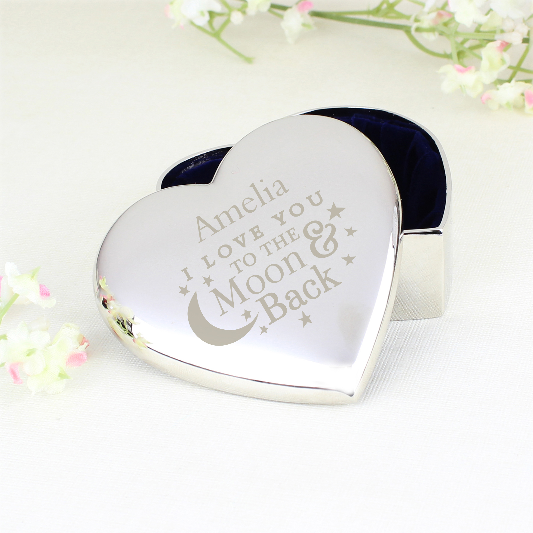 Engraved To the Moon and Back... Heart Trinket