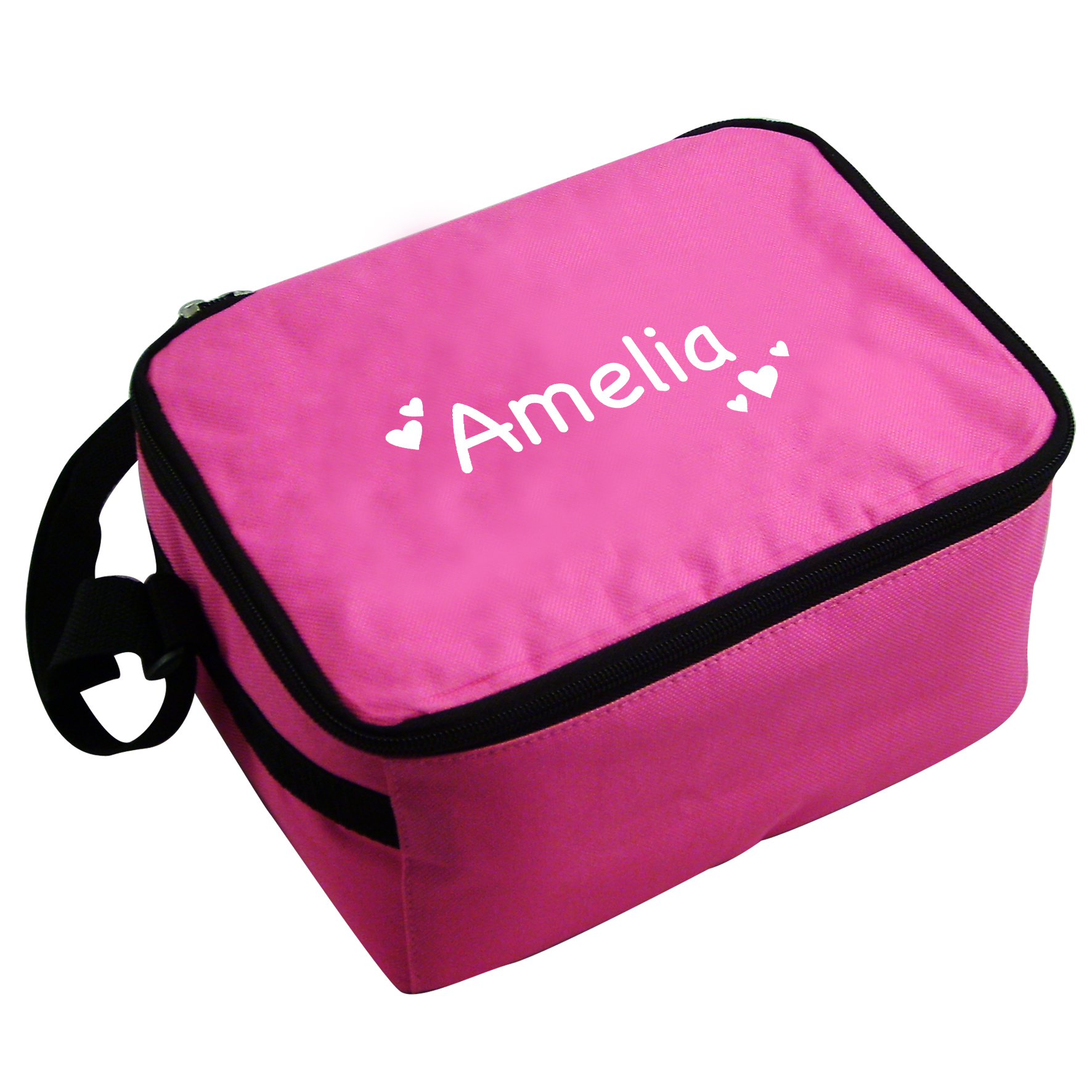 Personalised Pink Lunch Bag With Love Hearts