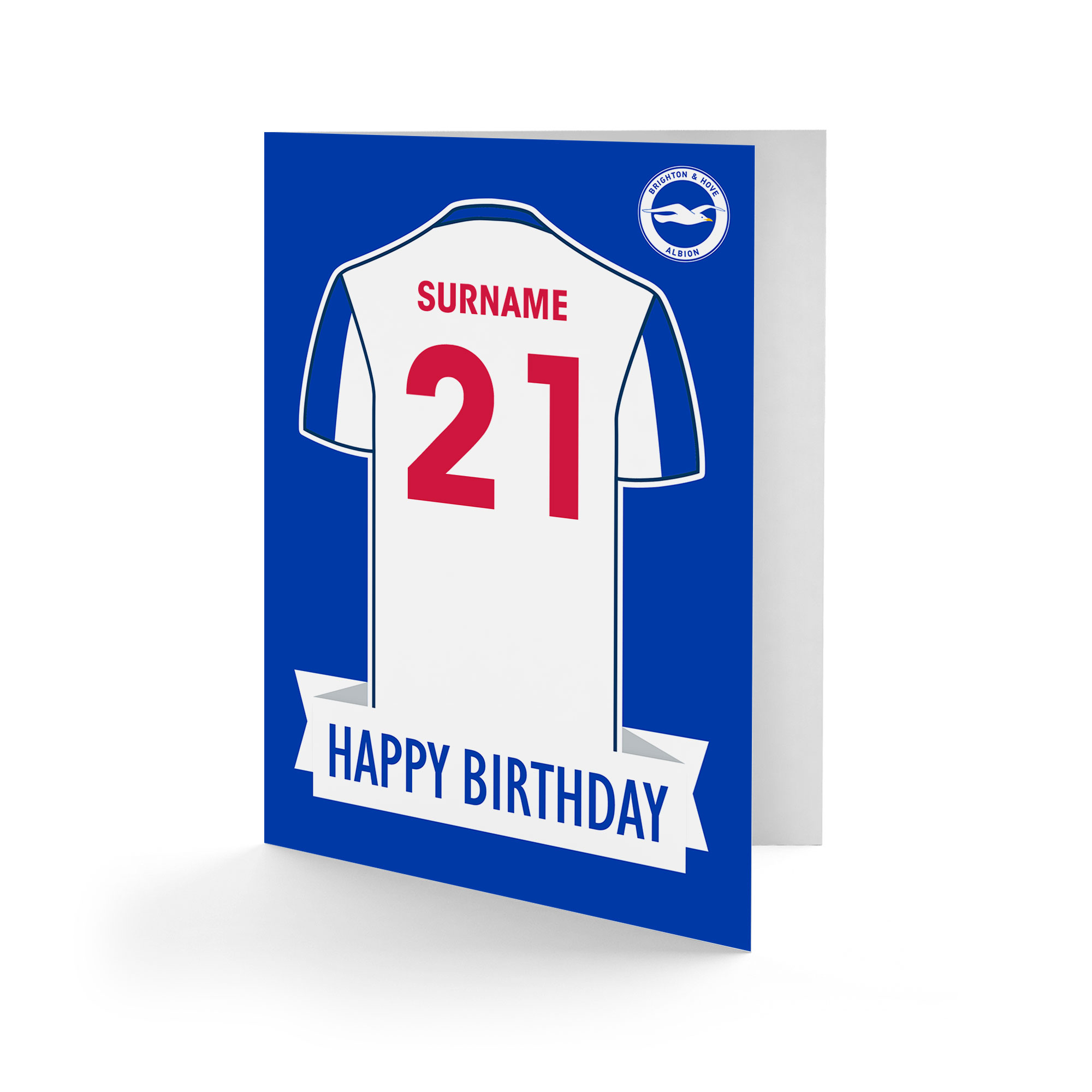 Brighton & Hove Albion FC Shirt Birthday Card
