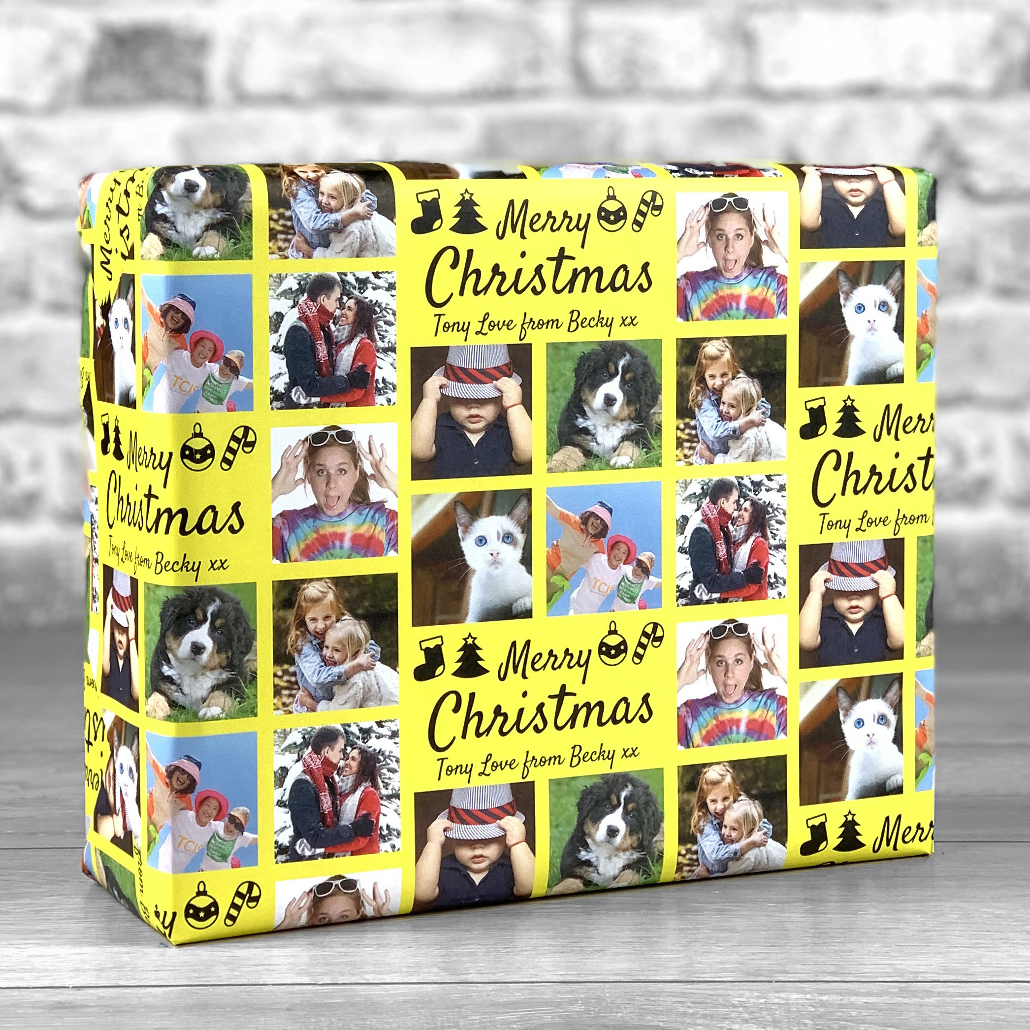 Merry Christmas Yellow Gift Wrap with Personalised Message and 7 Photo Uploads