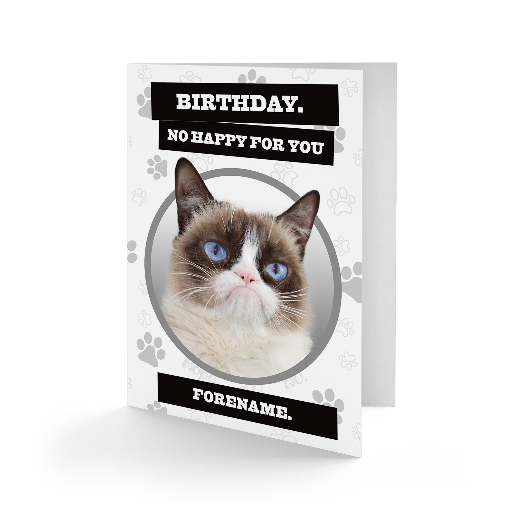 Grumpy Cat - No Happy Grey Birthday Card