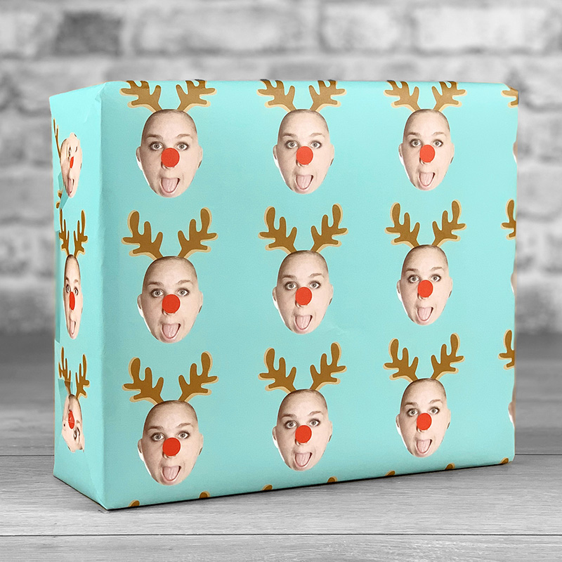 Reindeer Antlers Teal Gift Wrap with Face Upload