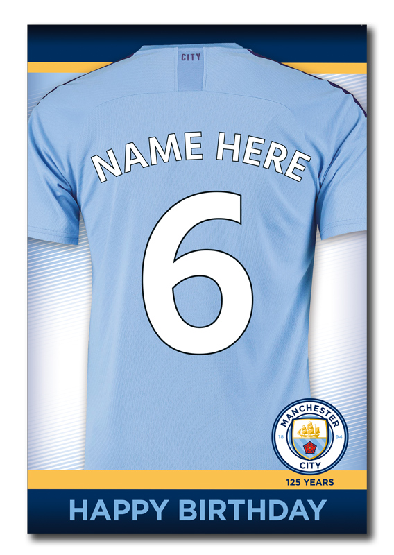 Manchester City Official Personalised Shirt Name & Age Birthday Card